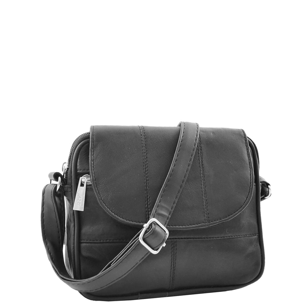 Womens Leather Small Cross Body Sling Bag HOL008 Black
