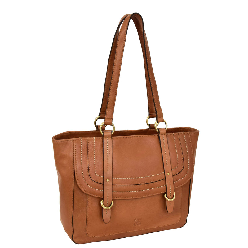Womens Leather Classic Shopper Fashion Bag Sadie Tan