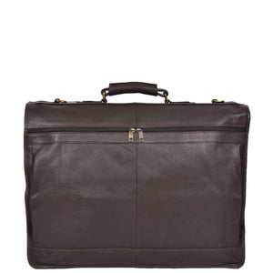 leather suit carrier with a back zip pocket