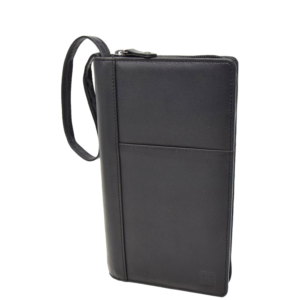 Zip Around Documents Leather Wallet Perth Black