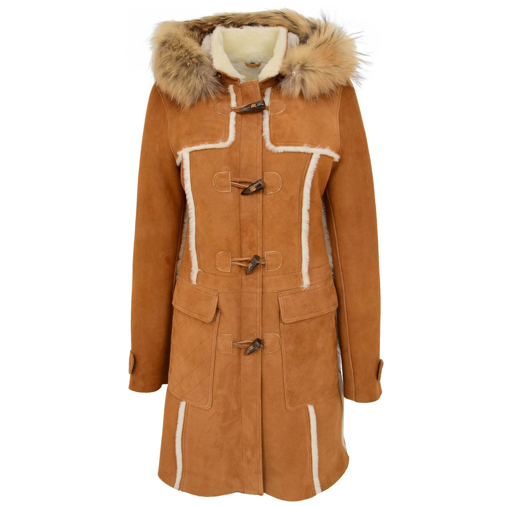 Womens Sheepskin Duffle Coat 3/4 Length Parka Beth Tan White