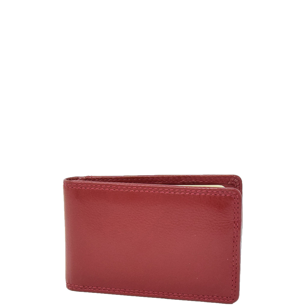 Slim Fold Leather Card Wallet Madrid Red