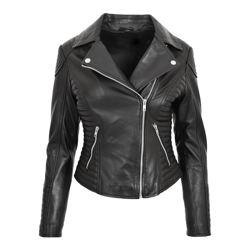 Womens Soft Leather Cross Zip Biker Jacket Anna Black