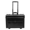 Leather Pilot Case Wheeled Lockable Laptop Bag Cornwall Black 1