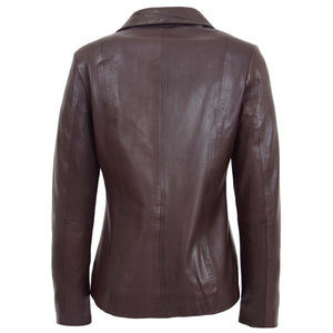 Womens Classic Zip Fastening Leather Jacket Julia Brown 1