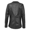 Womens Leather Semi Fit Two Button Blazer Shirley Black 1