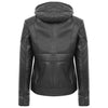 Womens Leather Detachable Hooded Coat Brooke Black 1