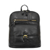 Womens Leather Casual Mid Size Backpack Doris Black 1