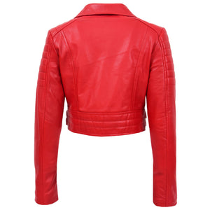 Womens Leather Cropped Biker Style Jacket Demi Red 1