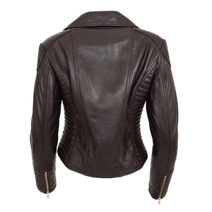 Womens Soft Leather Cross Zip Biker Jacket Anna Brown 1