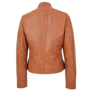 Womens Leather Casual Standing Collar Jacket Ivy Tan 1
