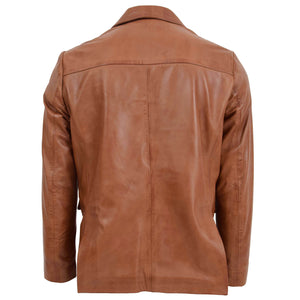Mens Leather Blazer Two Button Jacket Zavi Tan 1