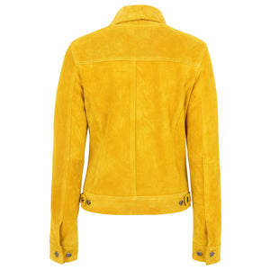 Womens Soft Suede Trucker Style Jacket Alma Yellow 1