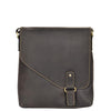 secure flap over leather bag