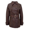 Womens Leather Double Breasted Trench Coat Sienna Brown 2