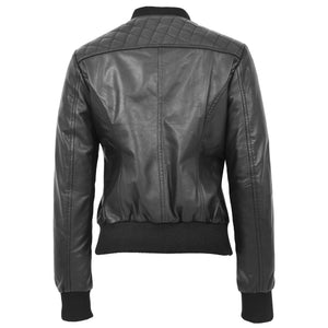 Womens Leather Varsity Quilted Bomber Jacket Sally Black 1