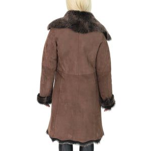 brown suede and gold fur coat