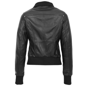 Womens Leather Classic Bomber Jacket Motto Black 1