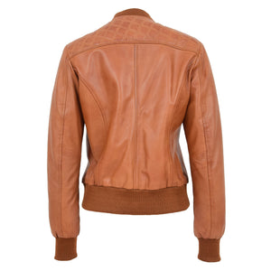 Womens Leather Varsity Quilted Bomber Jacket Sally Tan 1