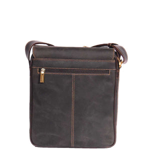 leather bag with a back zip pocket