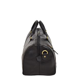 Leather Holdall Small Size Barrel Shape Duffle Bag Athens Black side
