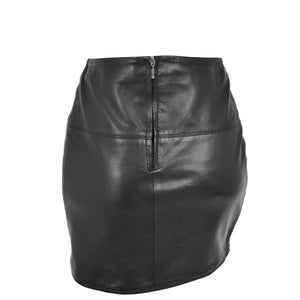 Ladies Leather 16inch Mini Length Pencil Skirt SKT5 Black back