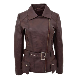 Womens Leather Hip Length Biker Jacket Celia Brown 2
