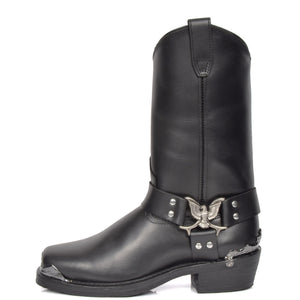 eagle design leather boots