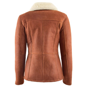 Womens Sheepskin Mid Length Coat Scarlett Whiskey 1