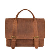Mens Leather Cross Body Flap Over Briefcase Caleb Tan front