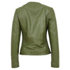 Womens Leather Collarless Jacket with Quilt Design Joan Olive Green 1