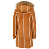 Womens Sheepskin Duffle Coat 3/4 Length Parka Beth Tan White 1