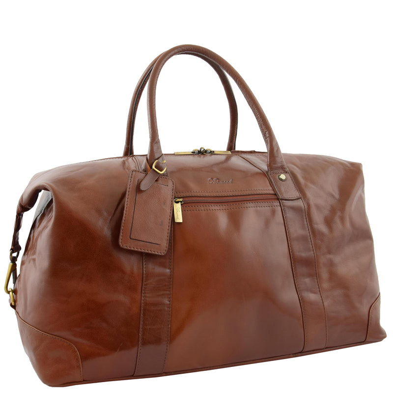 Real Leather Travel Holdall Large Size Duffle Perugia Tan 5