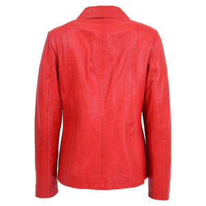 Womens Classic Zip Fastening Leather Jacket Julia Red 1