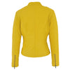 Womens Leather Standing Collar Jacket Becky Yellow 1