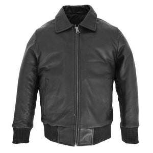 Boys Leather Bomber Jacket with Detachable Collar Liam Black 4