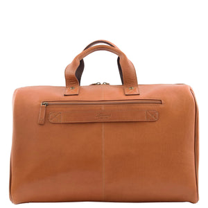 Genuine Leather Travel Holdall Overnight Bag HL015 Tan 1