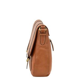 Womens Classic Soft Leather Cross Body Bag Mary Tan side