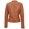 Womens Leather Classic Biker Style Jacket Alice Tan 1