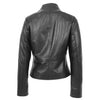 Womens Leather Casual Standing Collar Jacket Ivy Black 1