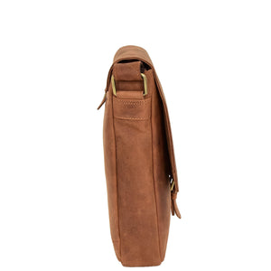 Mens Leather Cross Body Flight Bag Pouch Evan Tan side