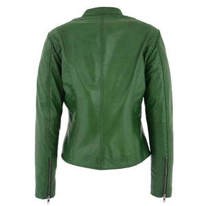 Womens Leather Standing Collar Jacket Becky Green 1