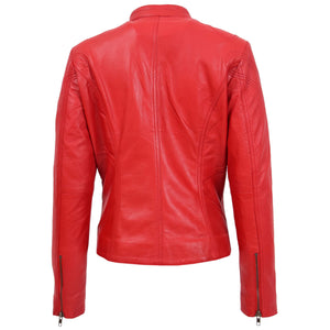Womens Leather Standing Collar Jacket Becky Red 1