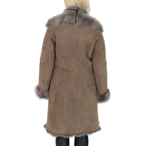 long sheepskin fur jacket for women