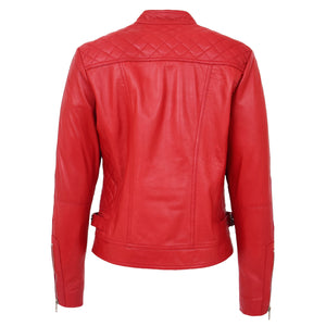 Womens Soft Leather Casual Zip Biker Jacket Ruby Red 1