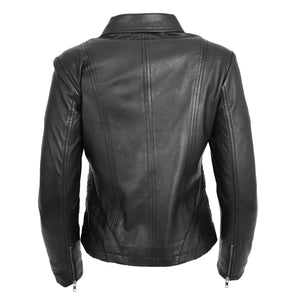 Womens Classic Leather Biker Zip Box Jacket Nova Black 1