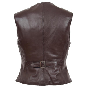 Womens Leather Classic Buttoned Waistcoat Rita Brown 1