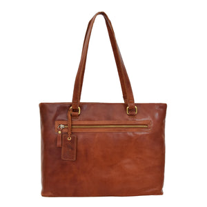 Womens Leather Classic Shopper Bag Sadie Tan 1