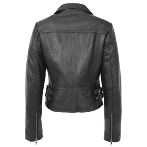 Womens Soft Leather Cross Zip Casual Jacket Jodie Black 1