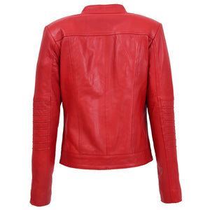 Womens Leather Classic Biker Style Jacket Alice Red 1